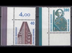 Bund BRD 1988 Mi. 1379 + 1381 ** Sehenswürdigkeiten Eckrand LUXUS (20838