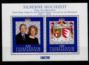 Liechtenstein 25 Hochzeitstag 1992 Mi Block 14 ** unter Postpreis (c051