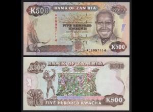 SAMBIA - ZAMBIA 500 Kwacha Banknote (1991) UNC Pick 35 (21126