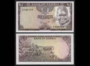 SAMBIA - ZAMBIA 1 Kwacha Banknote (1976) UNC Pick 19a (21113