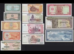 Kambodscha - CAMBODIA 12 Stück Banknoten aus 1956/2005 aUNC/UNC (21108
