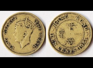 HONGKONG - Hong Kong 1951 10 Cents Coin King George VI. (r385