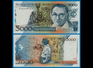 Brasilien - Brazil 5 Cruzados Novo Banknote Überdruck 1989 Pick 217a UNC