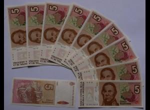 ARGENTINIEN - ARGENTINA 10 Stück á 5 Australes (1985-89) Pick 324a UNC (89007