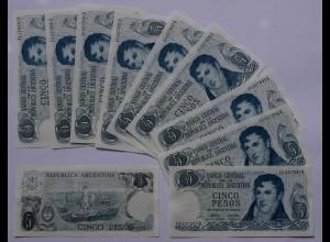 Argentinien - Argentina 10 x 5 Pesos 1974 Pick 294 UNC (21060