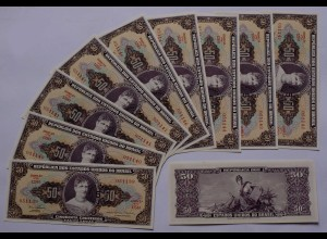 Brasilien - Brazil 10 Stück 5 Centavos auf 50 Cr. Banknote 1966-67 UNC Pick 184a