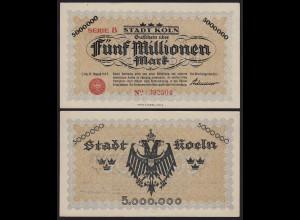 Rheinland - Köln 5 Millionen Mark Notgeld B 1923 US Adenauer aUNC (1-) (20005
