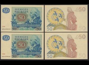 Schweden - Sweden Paar 50 Kronen 1986 aUNC (1-) Pick 53d Running Numbers