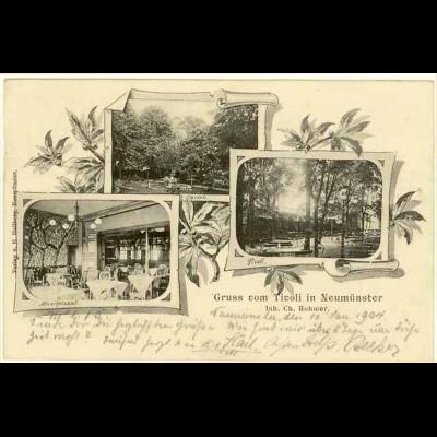 AK Ticoli Neumünster Garten Muschelsaal 1903 (2103