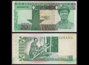 Ghana - 20 Cedis Banknote 1979 Pick 21a aUNC (1-) (21331