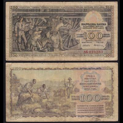 Jugoslawien - Yugoslavia 100 Dinara 1953 F (4) Pick 68 (21343
