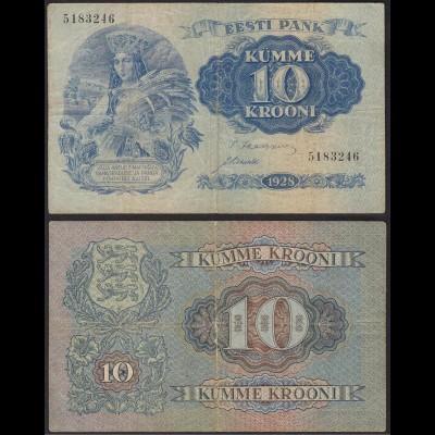ESTONIA - EESTI - ESTLAND 10 Krooni Banknotes 1928 Pick 63a F/VF -5183246(13959