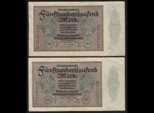 Reichsbanknote - Paar 500000 500.000 Mark 1923 Ros. 87b VF laufende Nummer