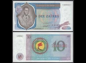 Zaire - 10 Zaires 1977 Banknote Pick 23b aUNC (1-) (21410