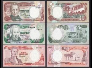 Kolumbien - Colombia 100, 200, 500 Pesos 1987/91 UNC (1) (21434