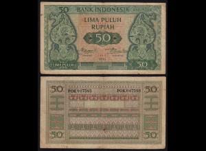 Indonesien - Indonesia 50 Rupiah Banknote1952 Pick 45 F (4) (21437