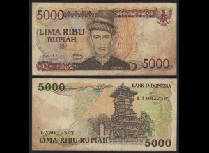 Indonesien - Indonesia 5000 Rupiah Banknote 1986 Pick 125a F (4) (21468