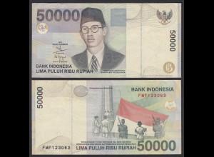 Indonesien - Indonesia 50000 50.000 Rupiah 1999/2002 Pick 139b XF (2) (21487