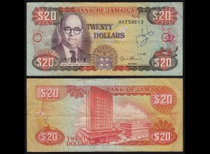 JAMAIKA - JAMAICA 20 Dollars Banknote 1995 Pick 72e VF (3) (21506