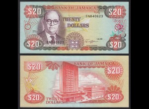 JAMAIKA - JAMAICA 20 Dollars Banknote 1989 Pick 72c VF- (3-) (21511