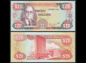 JAMAIKA - JAMAICA 20 Dollars Banknote 1987 Pick 72b VF- (3-) (21512