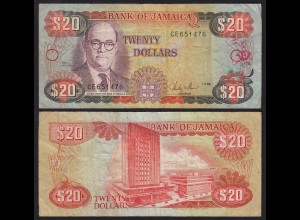 JAMAIKA - JAMAICA 20 Dollars Banknote 1986 Pick 72b F (4) (21513