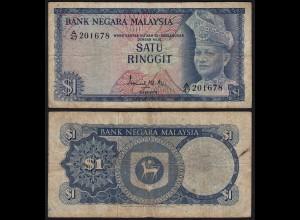 Malaysia 1 Ringgit Banknote 1967/72 Pick 1a F (4) (21538