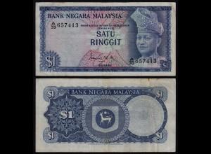 Malaysia 1 Ringgit Banknote 1967/72 Pick 1a VF (3) (21539