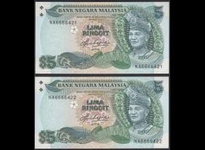 Malaysia 5 Ringgit ND (1983/84) Pick 20 UNC (1) Paar laufende Nummern (21559