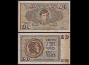 Jugoslawien - Yugoslavia 20 Dinara 1936 etwa VF (3) Pick 30 (21276