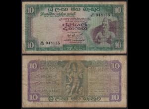 Ceylon - Sri Lanka 10 Rupees Banknote 1973 Pick 74b F (4) (21622