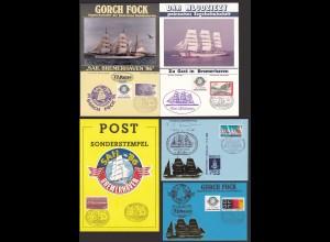 Segler Segelschiffe 5 Stück Sonderkarten/Briefe Gelegenheit (21629