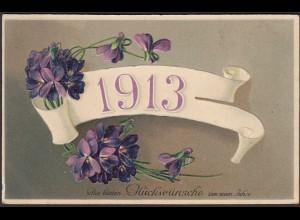 AK NEUJAHR 1913 Embossed Prägekarte 1912 (21634