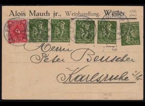 Deutsches Reich Infla Karte geprüft m. 5 x 187a v. Weiler-Karlsruhe (21654