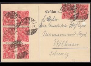 Deutsches Reich Infla Karte 8 x 225 v. Horrem-Wolhusen 1922 (21656