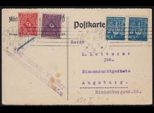 Deutsches Reich Infla Karte geprüft 1923 mit 191 I u.weitere (21661