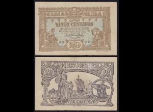 Portugal - 20 Centavos Banknote 1922 Pick 100 VF (3) (21729