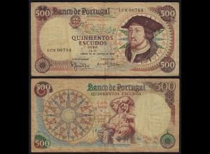 Portugal - 500 Escudo Banknotes 25-1-1966 - Pick 170a F+ (4+) (21776