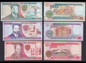 MOSAMBIK - MOZAMBIQUE 3 Stück Banknoten 1000-10.000 M.1991 UNC (21793