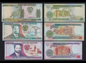 MOSAMBIK - MOZAMBIQUE 3 Stück Banknoten 1991-99 UNC (21795