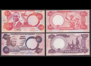 Nigeria 5 + 10 Naira Banknoten 2004-05 UNC (21797