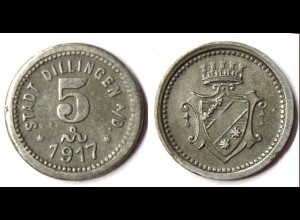 Germany - Dillingen City 5 Pfennig Notgeld 1917 zinc WW1 Funck 94.1 (r1004