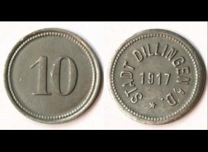 Germany - Dillingen City 10 Pfennig Notgeld 1917 zinc WW1 Funck 94.2 (r1002