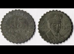 Germany 15 Pfennig CREFELD TRAM MONEY Notgeld Coin WW1 1917 Zinc (r992