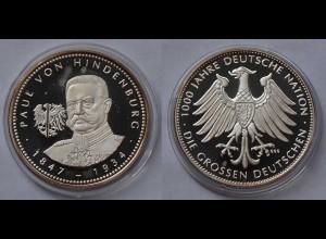 Paul von Hindenburg Silber 999/1000 PP 1847-1934 Reichskanzler Feldmarschall