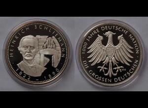 Heinrich Schlieemann Silber 999/1000 PP 1822-1890 Pionier Archäologe