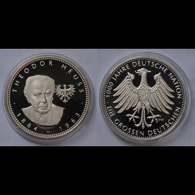 Theodor Heuss Silber 999/1000 PP 1884-1963 Politikwissenschaftler