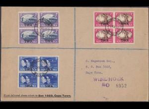 Südafrika - South Africa Brief m. 3 Stück 4er Blocks SWA Aufdruck 1945 (4642
