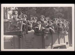 AK Soldaten auf LKW Offiziere WW2 Foto Voigtlander WW2 ca.14x9 cm (13300