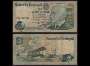 Portugal - 20 Escudos Banknote 1978 - Pick 176b F (4) (21822